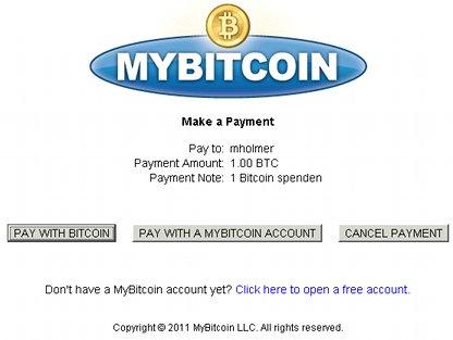 Zahlung über MyBitcoin