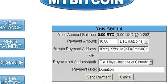 Überweisung senden mit MyBitcoin
